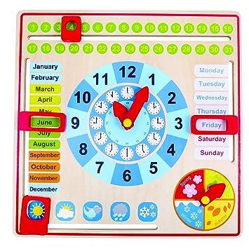 Tooky Toy Reloj Calendario de madera - Juguete educativo a partir de 3 años
