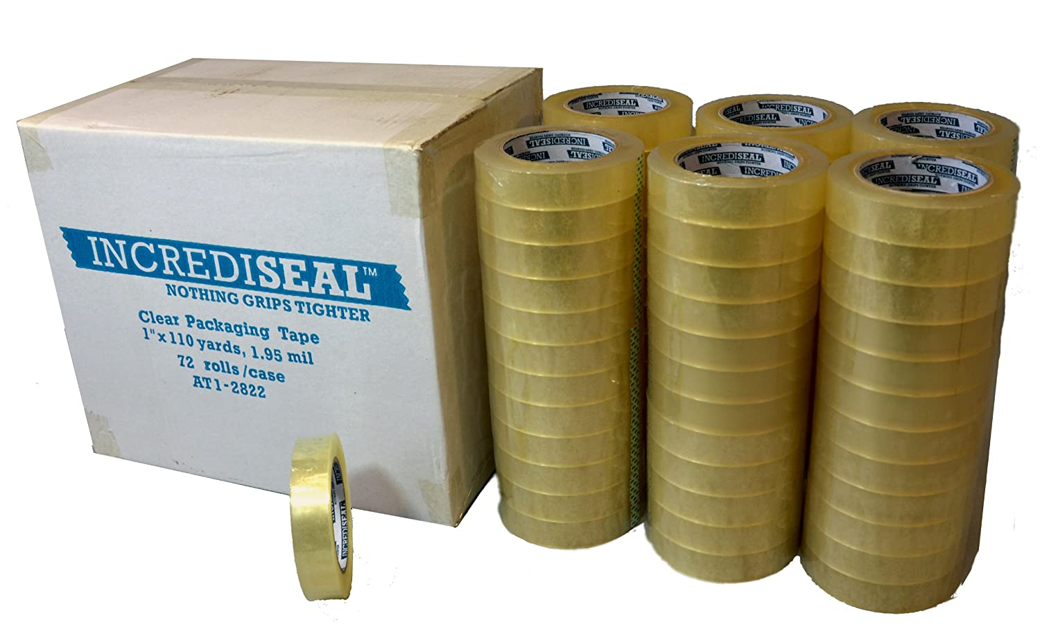 INCREDISEAL 72 Rolls Packaging Tape, 1 Inch x 110 Yards x 1.95 Mil Clear by INCREDISEAL  B00CIQL2DS