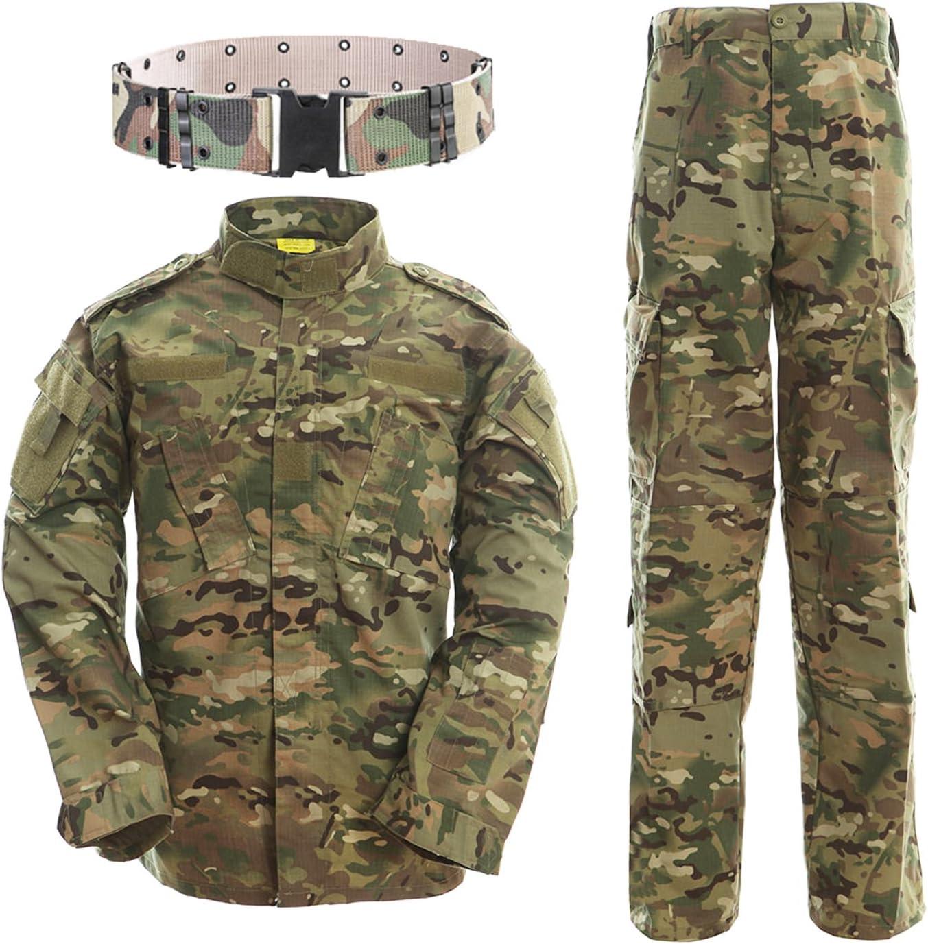 QMFIVE Uniformes tácticos Camuflaje Camo Camo Combat BDU Chaqueta Camisa y Pantalones Uniforme Juego de Guerra Ejército Paintball Militar Airsoft Caza Disparo Camo