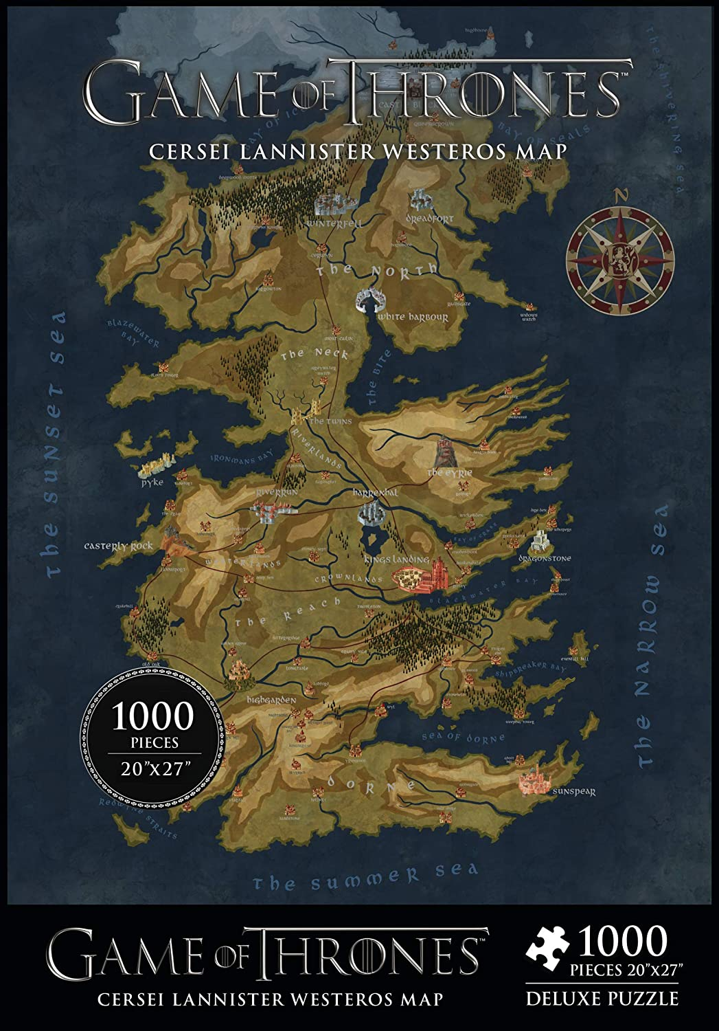 Dark Horse Deluxe Game Of Thrones Map Of Westeros 1 000piece Puzzle