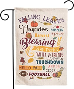 Granbey Thanksgiving Garden Flag Welcome Fall Seasonal Pumpkin Garden Flag Blessing Harvest Autumn Yard Lawn Flags Give Thanks Autumn Leaves Double Sized Banners for Home Outside Decor