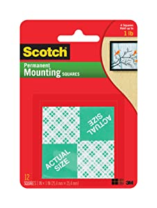 Scotch Indoor Mounting Squares, 1-inch x 1-inch, White, 24-Squares (111-24)