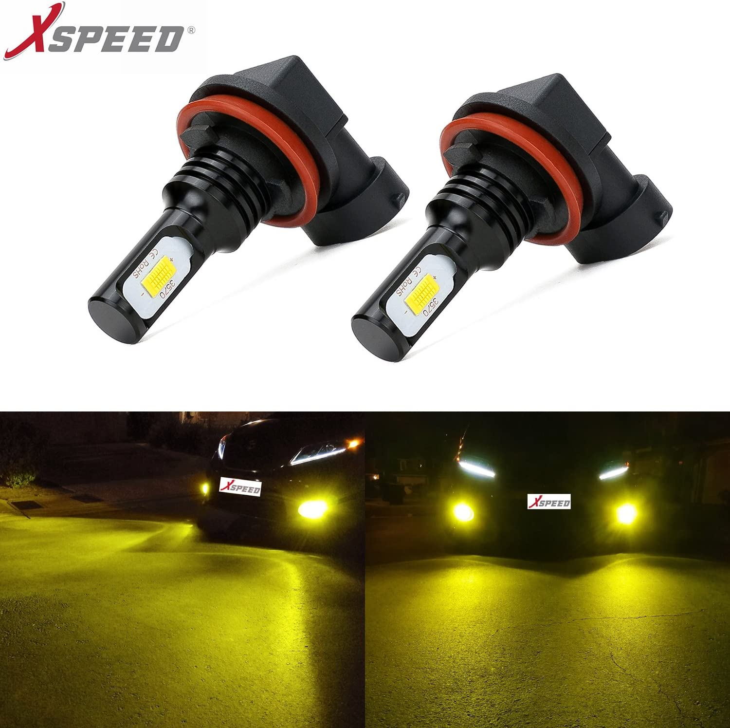 H11//H8//H16 JP XSPEED Latest Version CSP 3570-Chips Extremely Bright 3200 Lumens LED Fog Light Bulbs JDM Gold Yellow use for Fog Lights