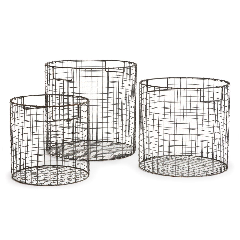 Set of 3 Matte Gray Finish Decorative Round Metal Wire Baskets