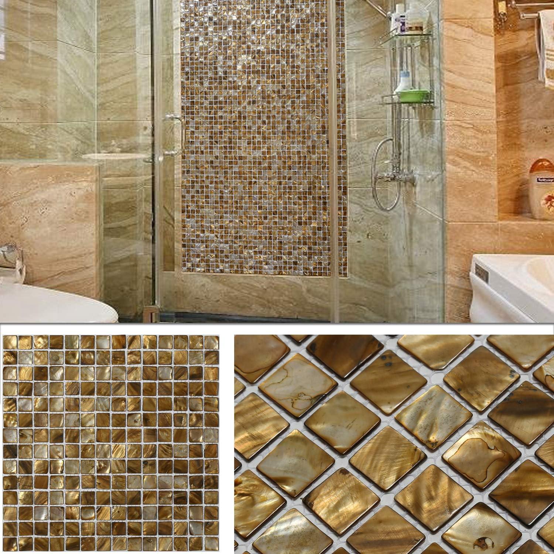 Amazon Com Benice Backsplash Tiles Natural Mother Of Pearl Kitchen Backsplash Bathroom Wall Floor Mosaic Tiles Waterproof 12 X12 Brown 1sheet Home Improvement