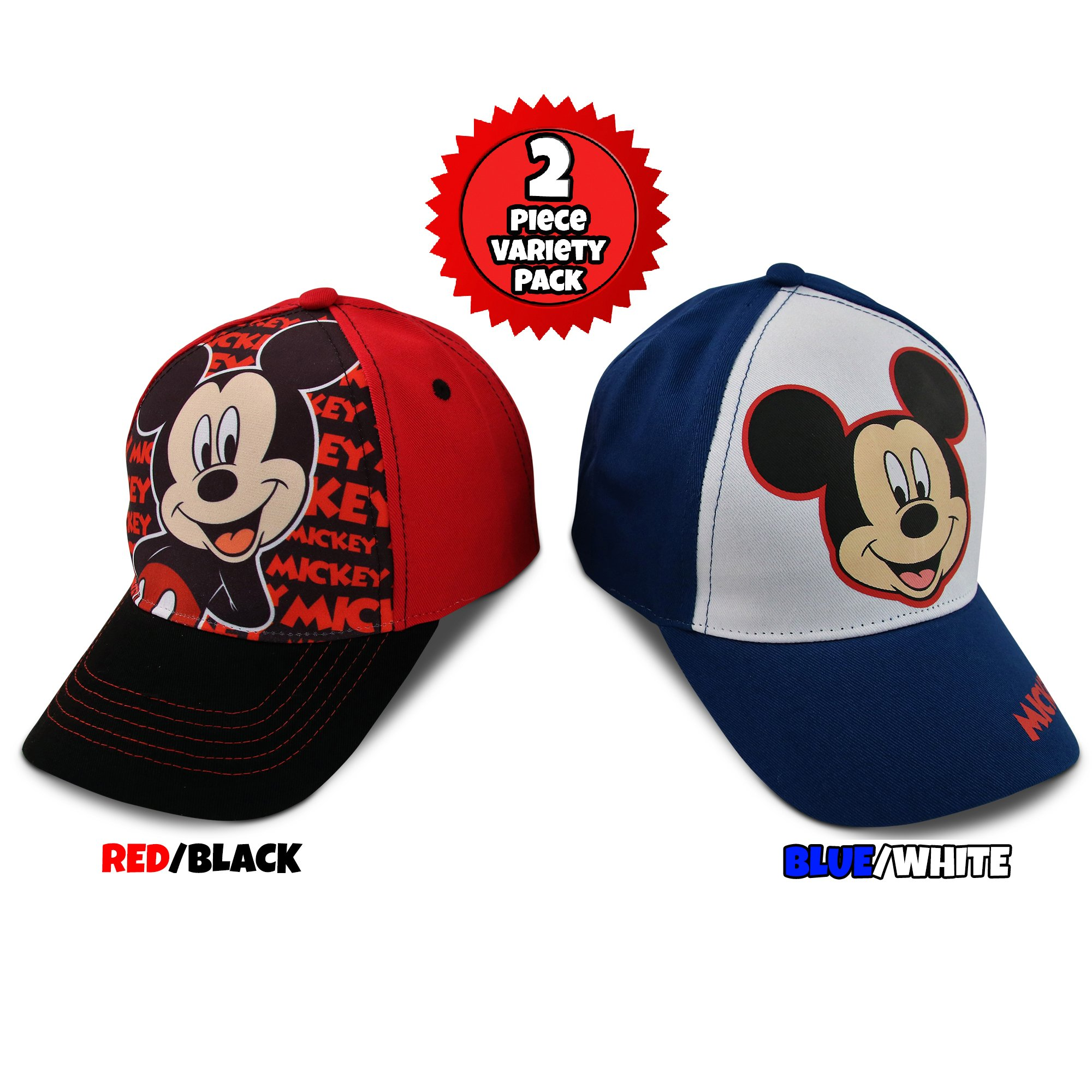 Disney Little Boys Assorted Character Cotton Baseball Cap, 2 Piece Design Set, Age 2-7 (Toddler Boys – Age 2-4 – 51 cm, Mickey Mouse Design – 2 Piece Set) by Disney (Image #1)