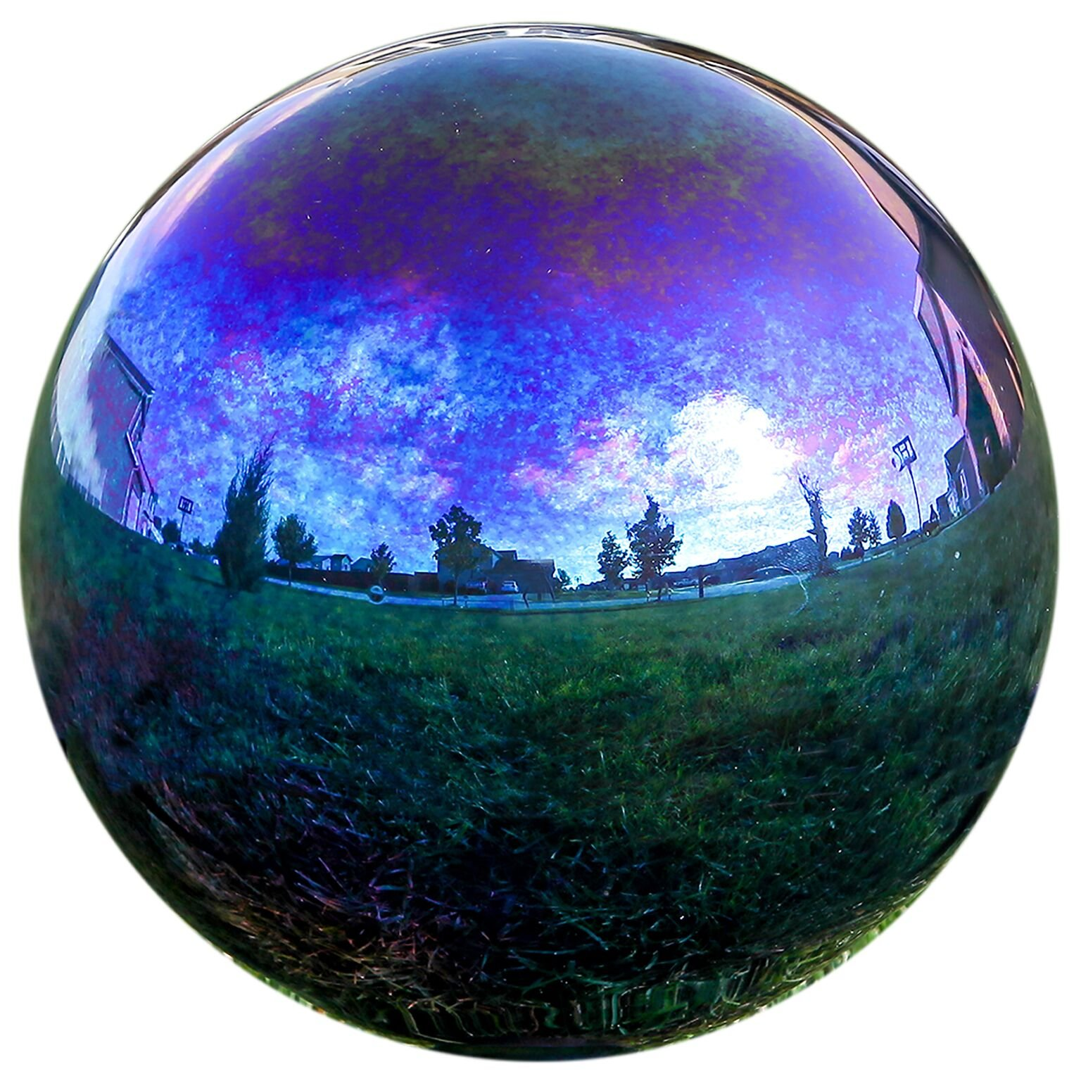 Lily's Home Glass Gazing Mirror Ball, Colorful and Shiny Addition to Any Garden or Home, Ideal As a Housewarming Gift, Sparkling Rainbow (12 Inches Diameter)