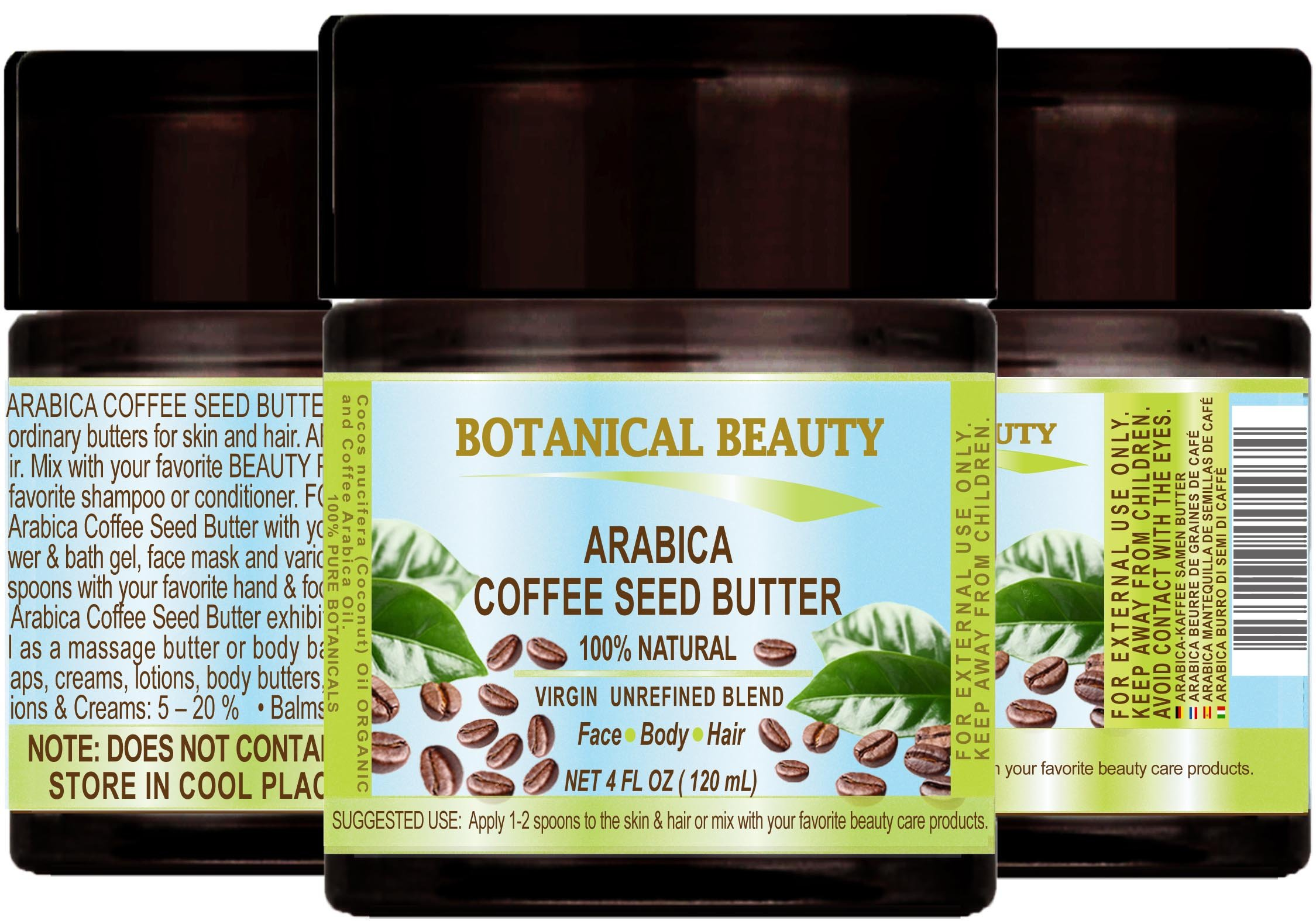 """ARABICA COFFEE SEED BUTTER 100 % Natural / 100% PURE BOTANICALS. VIRGIN/ UNREFINED BLEND. Cold Pressed. 4 Fl.oz.- 120 ml. For Skin, Hair and Nail Care. """"One of the best butters to reduce wrinkles, puffiness, dark circles. Powerful Anti-Cellulite."""""""