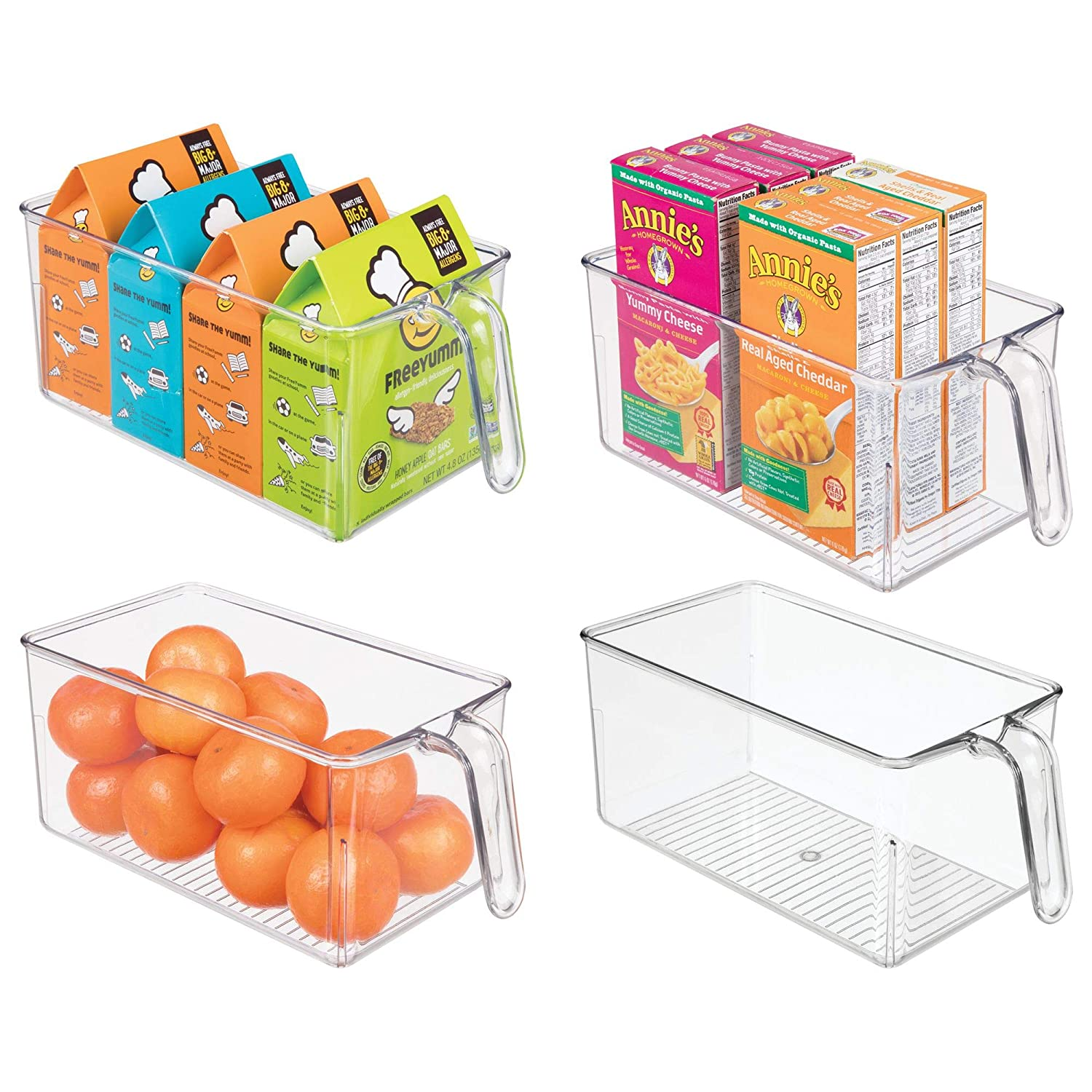 mDesign Plastic Kitchen Pantry Cabinet Refrigerator Storage Organizer Bin Holder with Front Handle - for Organizing Individual Packets, Snacks, Produce, Pasta - BPA Free - Medium, 4 Pack - Clear