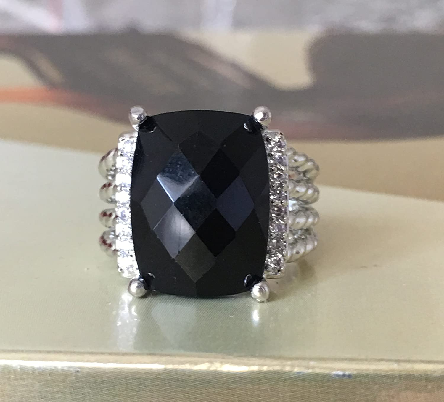 9 Gempara Designer Inspired 16x12mm Wheaton Ring with Black Onyx and Simulated Pave Diamonds Size 7