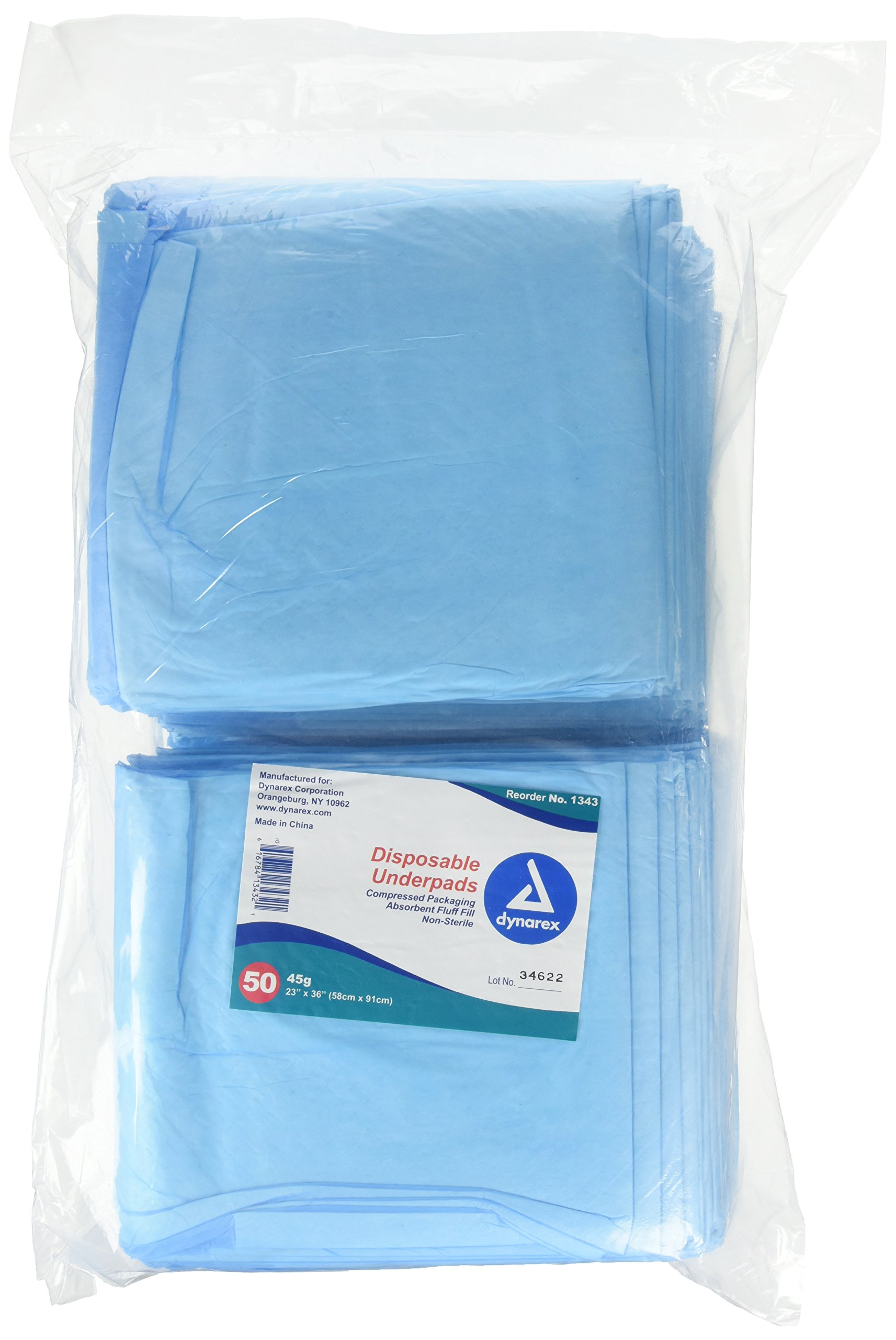 Blue Disposable Underpads (Chux), Large Size 23 X 36, Case/100 2 Bags of 50
