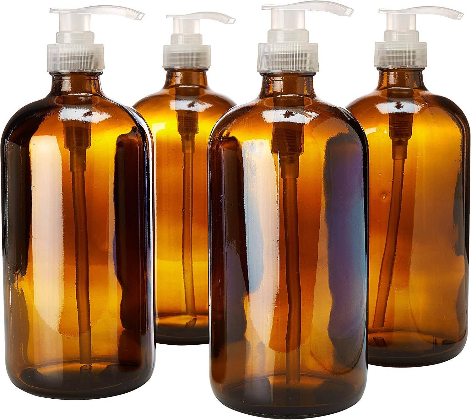kitchentoolz 32 Ounce Large Amber Glass Bottles for Laundry Detergent with Natural Color Pumps. Great for Lotions, Soaps, Oils, Sauces and DIY Laundry or Dish Detergent- Food Safe (Pack of 4)