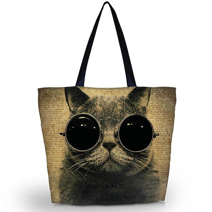 Fashion Women Ladies Zippered Shoulder Shopping Tote Bag Handbag Beach Satchel (Cool Cat)