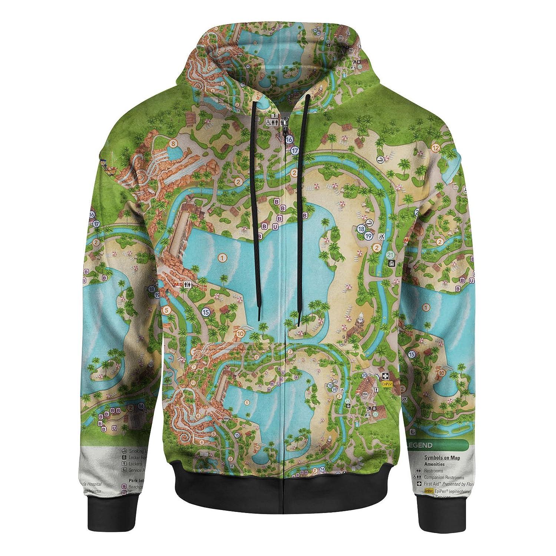Typhoon Lagoon Map Men Zip Up Hoodie