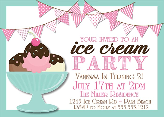 Amazon Com Ice Cream Birthday Party Invitations Handmade