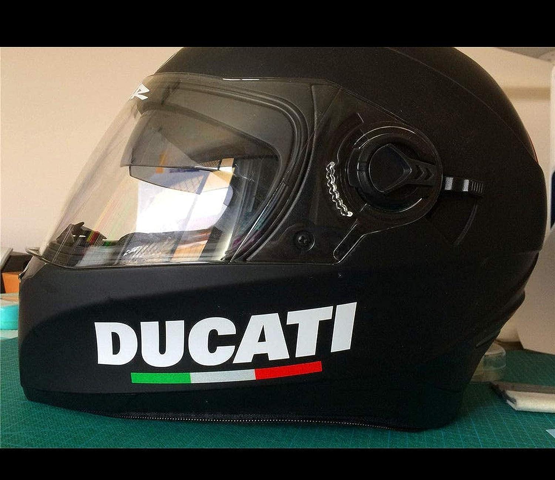 Supersticki 2x Ducati Helmaufkleber Motorrad Aufkleber Bike Auto Racing Tuning Aus Hochleistungsfolie Aufkleber Autoaufkleber Tuningaufkleber Hochleistungsfolie Für Alle Glatten Flächen Uv Auto