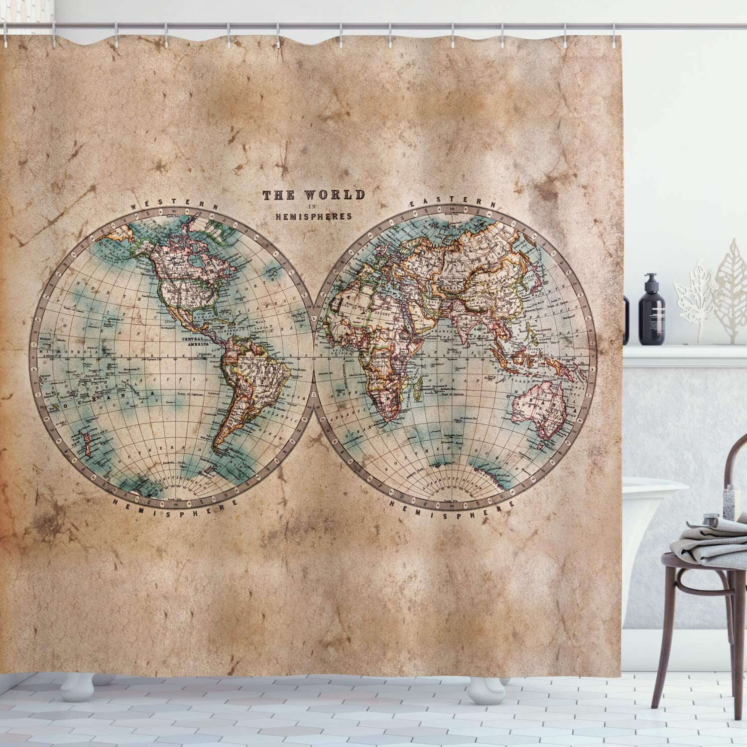 Ambesonne World Map Shower Curtain, World in Hemispheres Vintage Old Map Design Geography Historyme, Cloth Fabric Bathroom Decor Set with Hooks, 84
