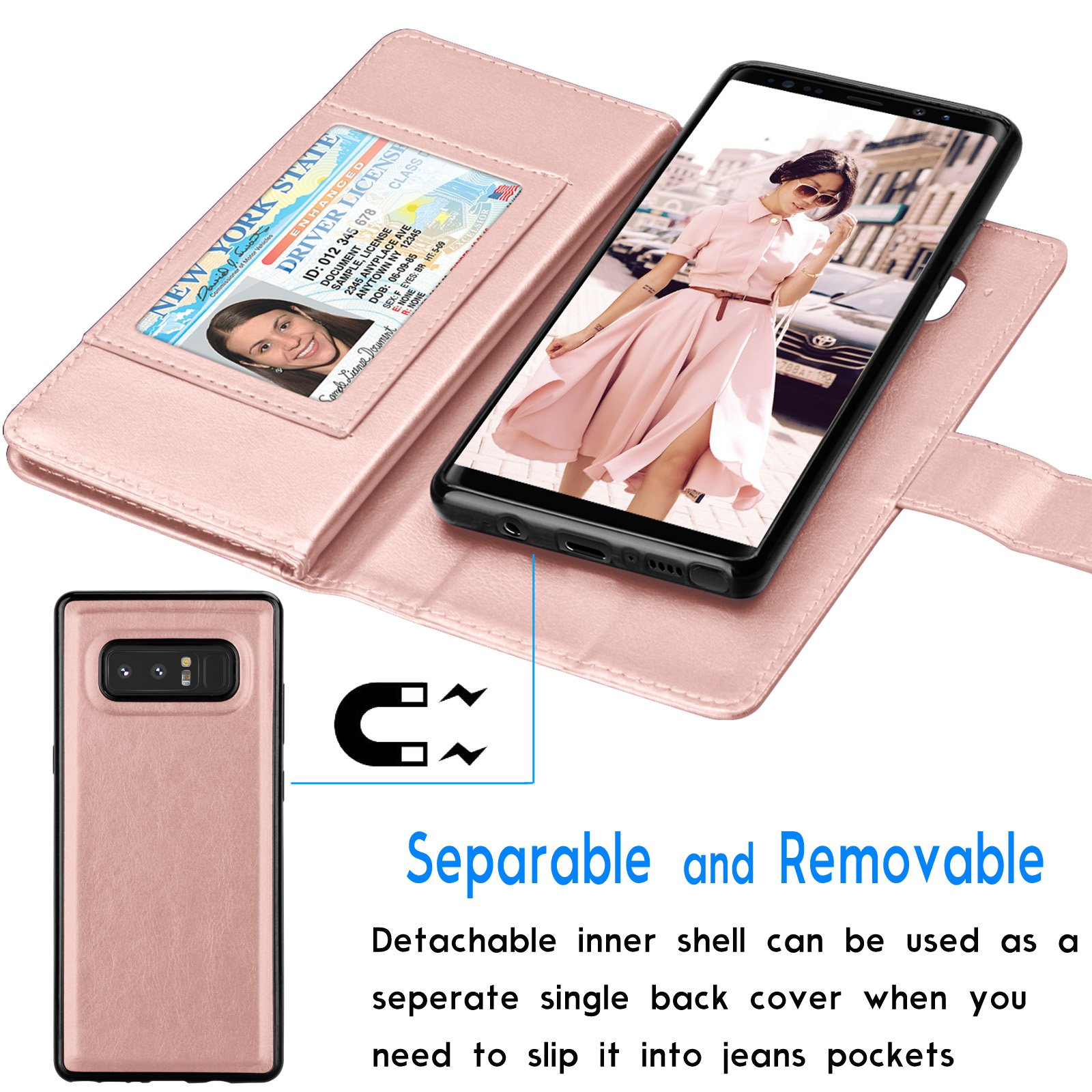 Tekcoo For Galaxy Note 8 Wallet Case, Tekcoo Samsung Galaxy Note 8 PU Leather Case, Luxury ID Cash Credit Card Slots Holder Carrying Flip Cover [Detachable Magnetic Hard Case] & Kickstand - Rose Gold by Tekcoo (Image #4)