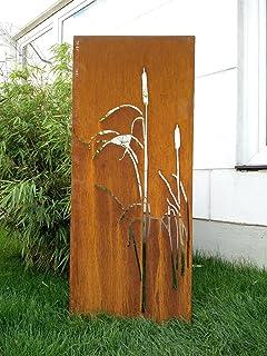 Zen Man Edelrost Garten Sichtschutz aus Metall 1mm Rost Gartenzaun Gartendeko edelrost Sichtschutzwand H125*50cm 031925