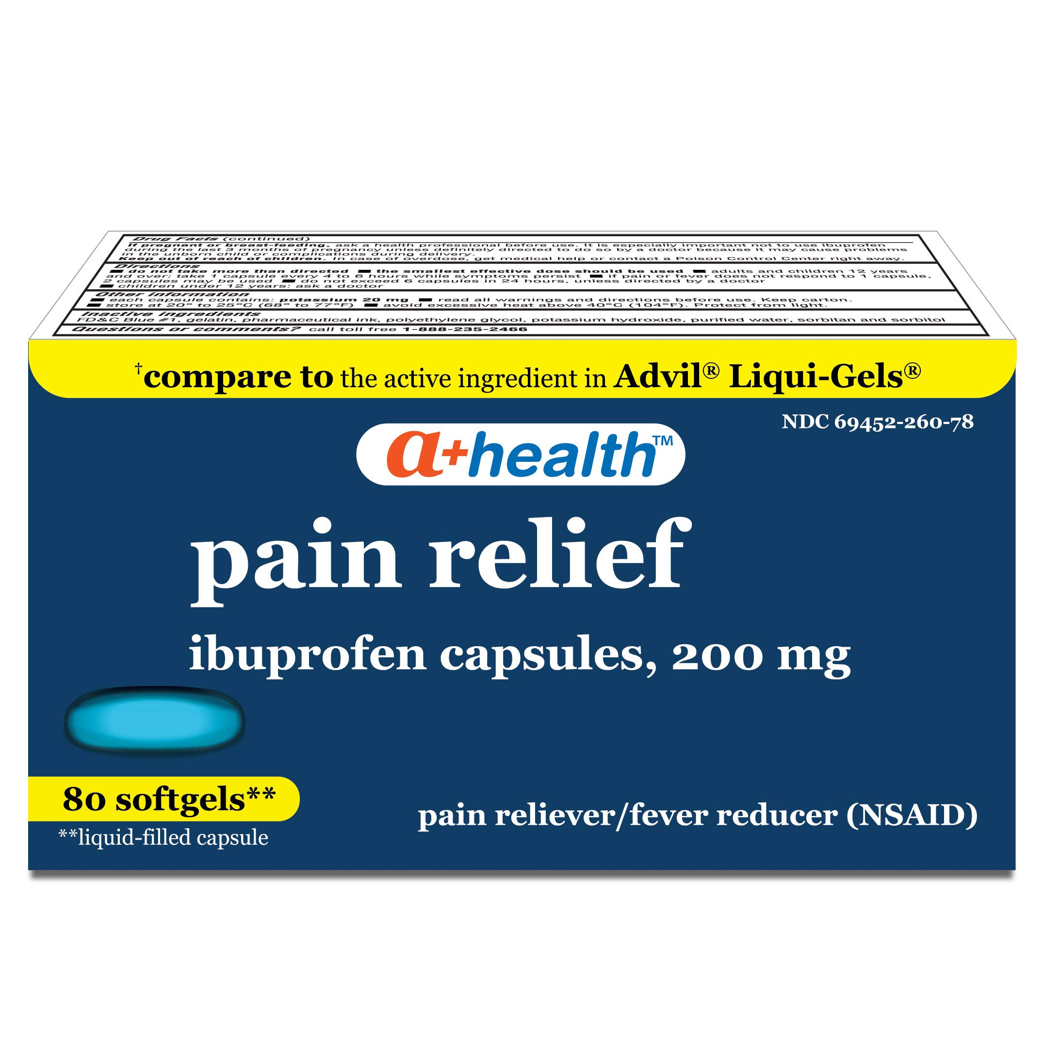 A+Health Ibuprofen 200 Mg Softgels, Pain Reliever/Fever Reducer (NSAID), Made in USA, 80 Count