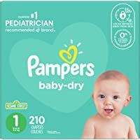 Diapers Size 1 - Pampers Baby Dry Disposable Baby Diapers, 210 Count, Super Economy Pack (Packaging May Vary)