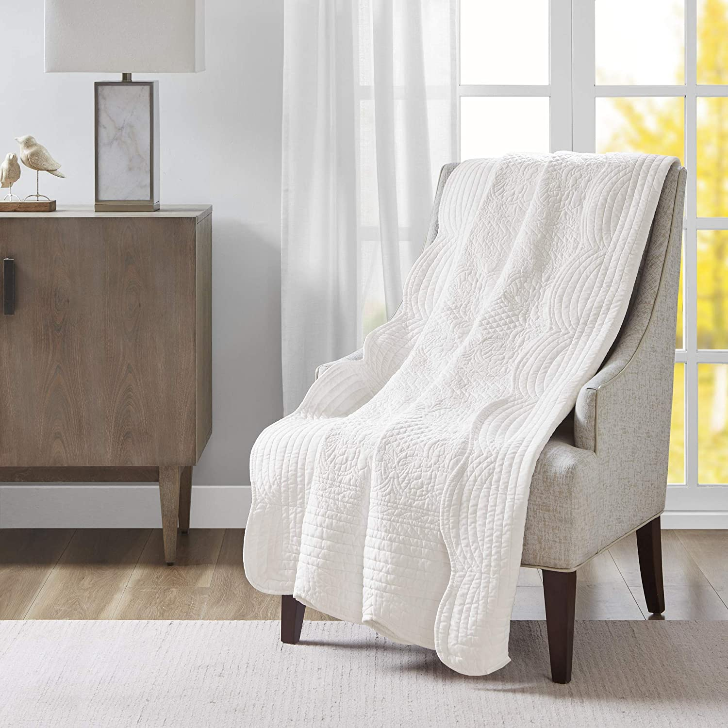 Madison Park Tuscany Luxury Oversized Quilted Throw with Scalloped Edges White 60x72 Quilted Premium Soft Cozy Microfiber For Bed, Couch or Sofa