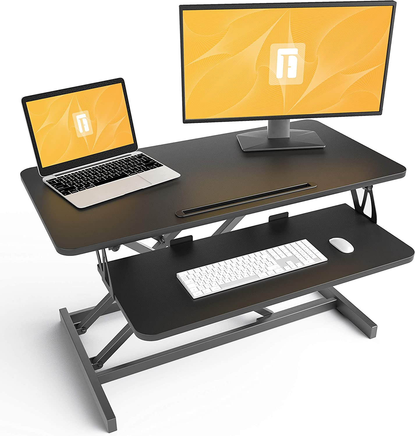 Standing Desk with Height Adjustable – FEZIBO 32 inches Stand Up Black Desk Converter