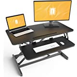 Standing Desk with Height Adjustable – FEZIBO 32 inches Stand Up Black Desk Converter, Ergonomic Tabletop Workstation…