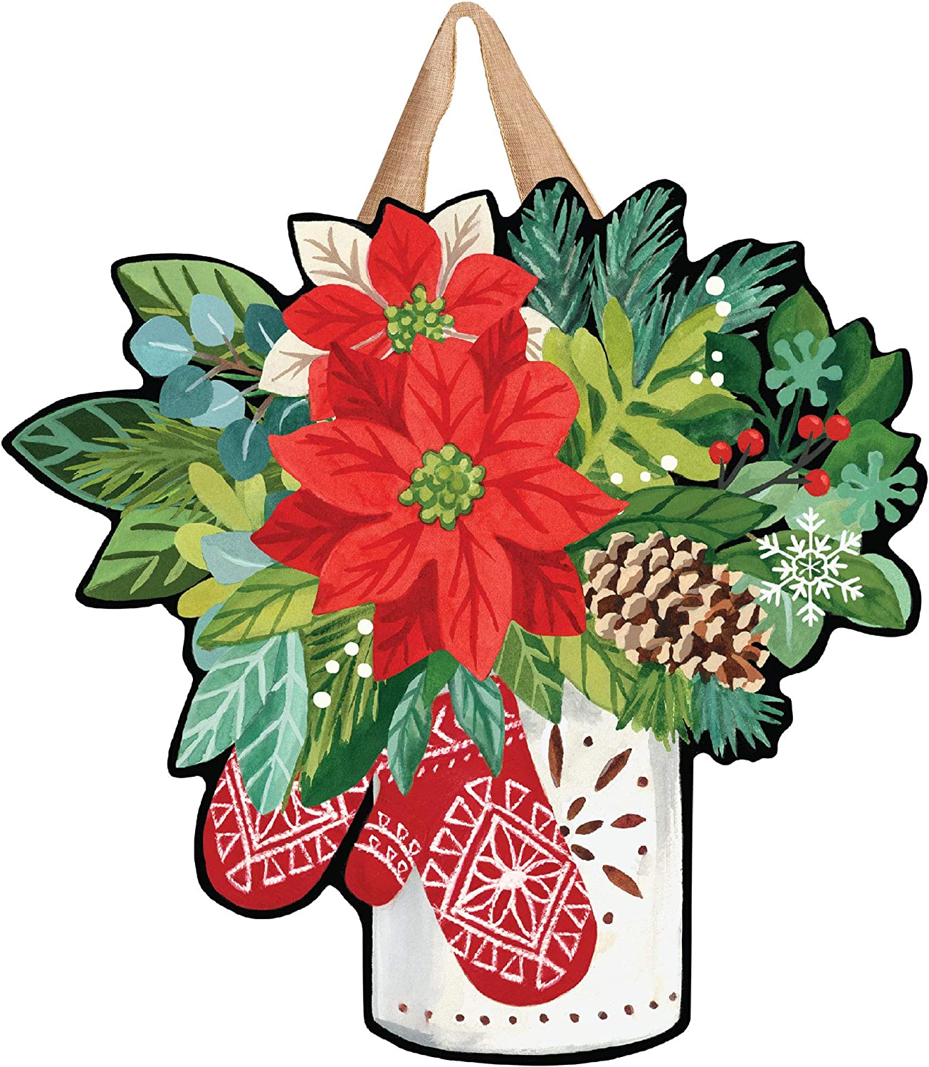Studio M Scandi Mittens Winter Christmas Door Décor Decorative Front Door Sign with Colorful Ribbon Hanger, Durable Fade Resistant PVC, Made in The USA