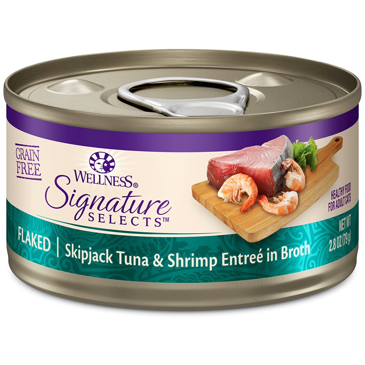 2.8-Ounce Can (Pack of 12) Wellness CORE Signature Selects Grain Free Wet Canned Cat Food, Flaked Skipjack Tuna & Shrimp, 2.8-Ounce (Pack of 12)