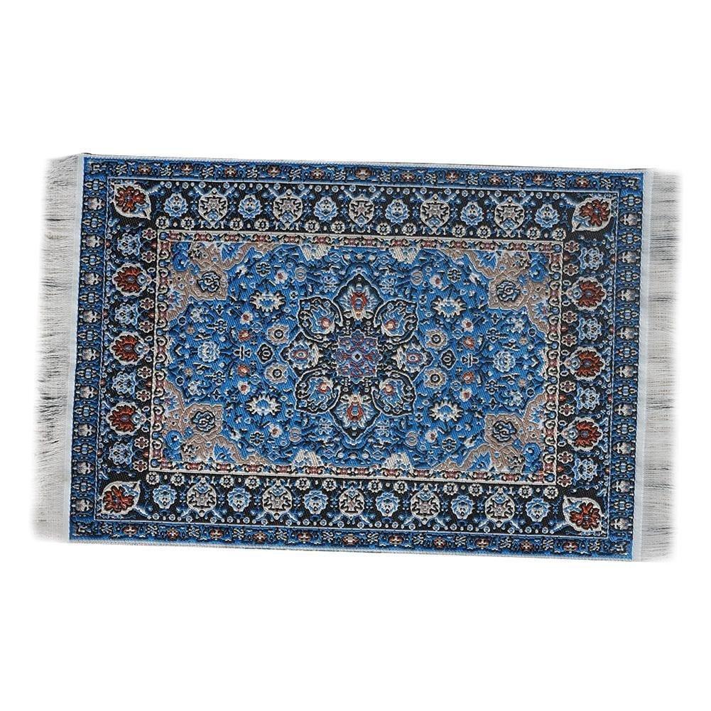 EMiEN Blue Floral Print Vintage Woven Carpet Rug Blanket Miniature Ornament Kits,Miniature Ornament for DIY Dollhouse Decoration
