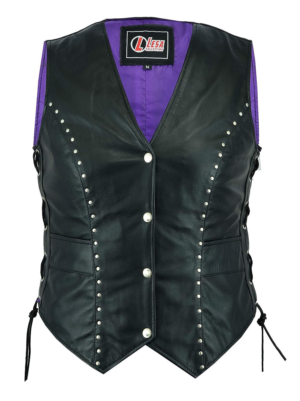 Women Motorcycle Biker Leather Vest Waistcoat Ladies S