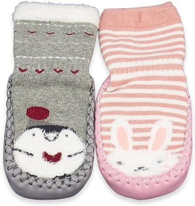 FA Toddler Non-Slip Boot Socks Kids Baby Cartoon Warm Shoes Anti-slip Slipper N