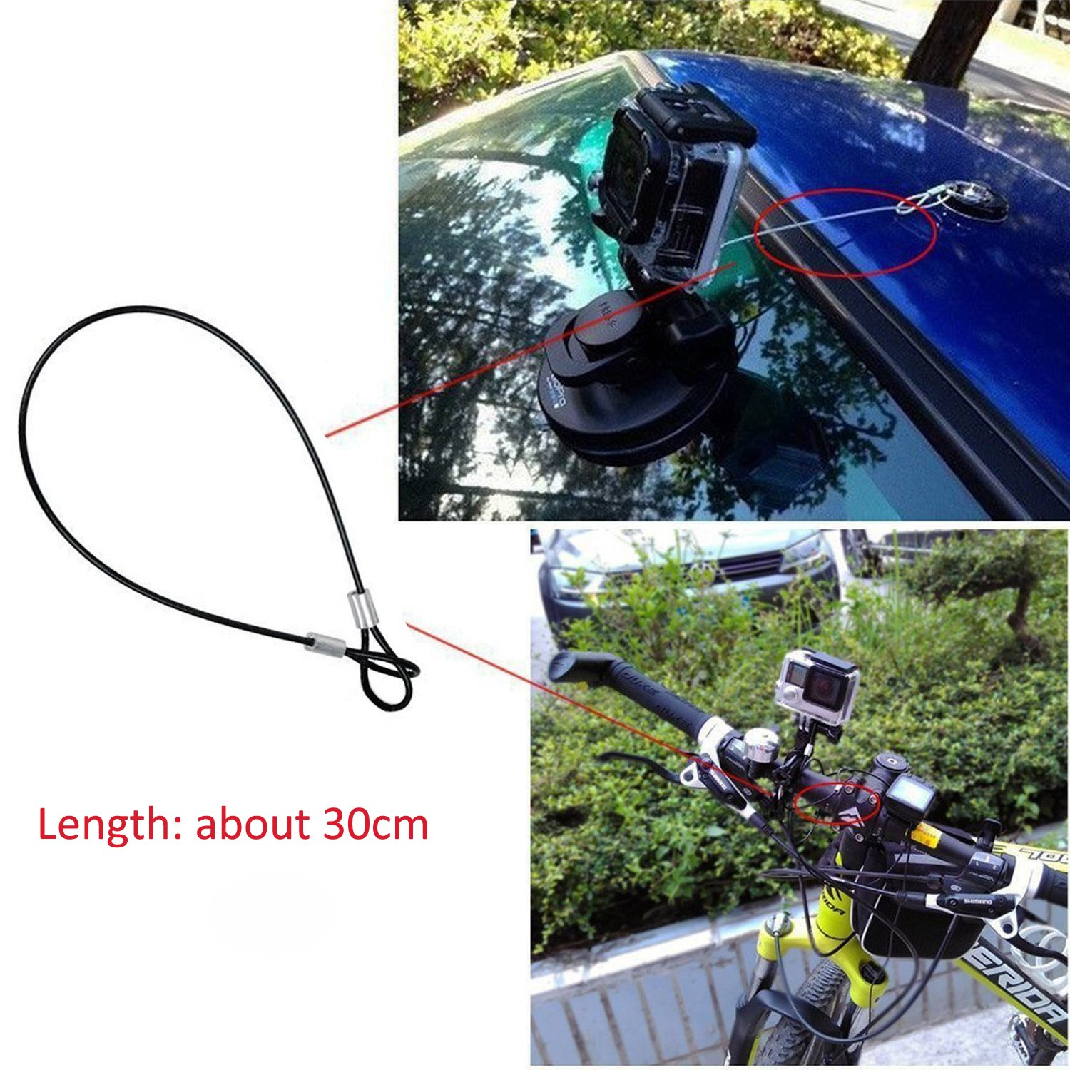 MyArmor Backpack Bag Strap Quick Release Clip Clamp Mount with Stainless Steel Safety Tether Keeper Lanyard 30cm for GoPro Hero 5/4/3/2/HD Action Camera
