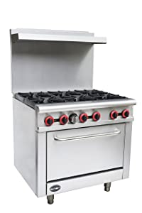 "Heavy Duty Commercial 36"" Gas 6 Burner Range with Oven (211,000 BTU/hr Total Input)"