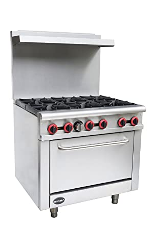 Heavy Duty Commercial 36u0026quot; Gas 6 Burner Range With Oven (211,000 BTU/hr