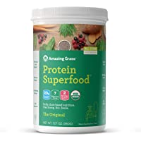 Amazing Grass Protein Superfood: Organic Vegan Protein Powder, Plant Based Meal Replacement Shake with 2 servings of Fruits and Veggies, Unflavored, 12 Servings, 12.7 Ounce