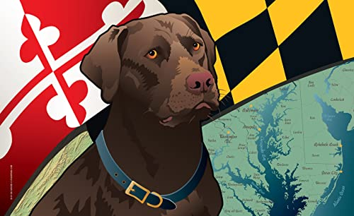 Citizen Pride Maryland Chocolate Lab Door Mat by Joe Barsin, 30×18