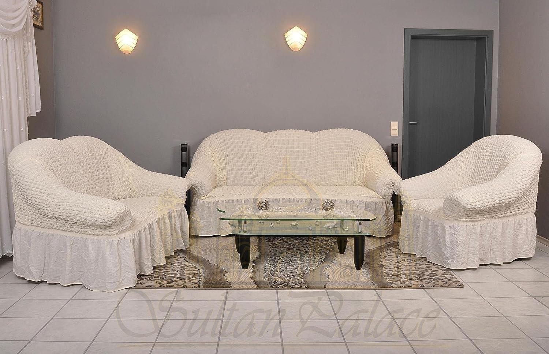 Sofa Bezug amazon de sofaueberwurf elastisch 3 sitzer bezug aus baumwolle