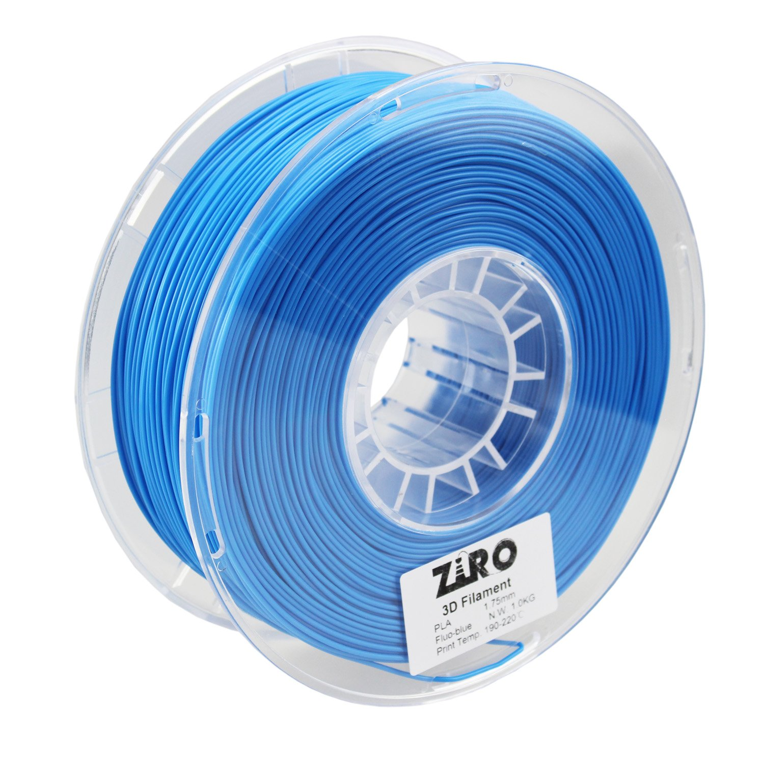 ZIRO 3D Printer Filament PLA 1.75 1KG(2.2lbs), Dimensional Accuracy +/- 0.05mm, Fluo blue