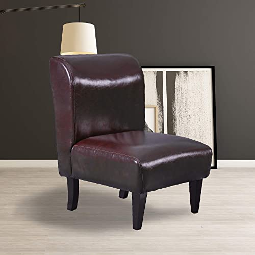 Best living room chair: Slippper Accent Chair Armless Decorative Contemporary Style Faux Leather