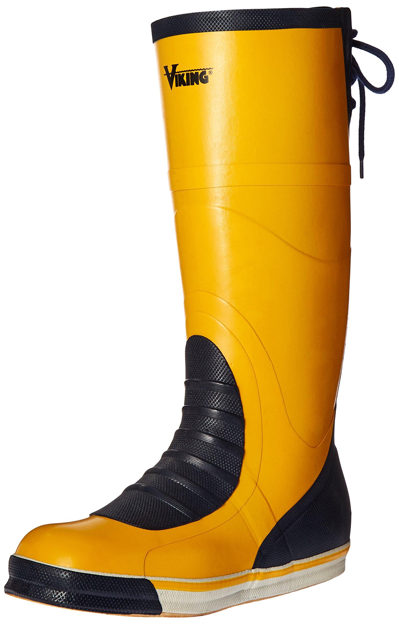 Viking Footwear Mariner Waterproof Slip-Resistant Boot, Yellow/Navy, 7 M US