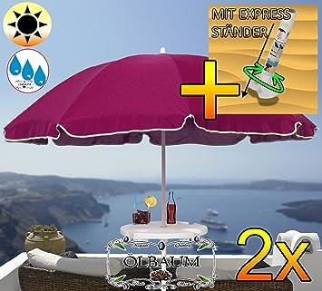Amazon De 2 Stck Grosser Sonnenschirm Mit Getranketisch 180 Cm O