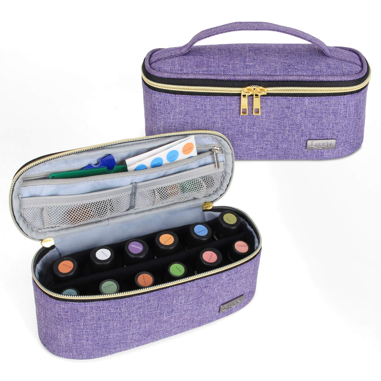 Amazon Com Luxja Nail Polish Organizer Holds 12 Bottles 15ml 0 5 Fl Oz Nail Polish Case For Polish And Small Tools Purple Beauty