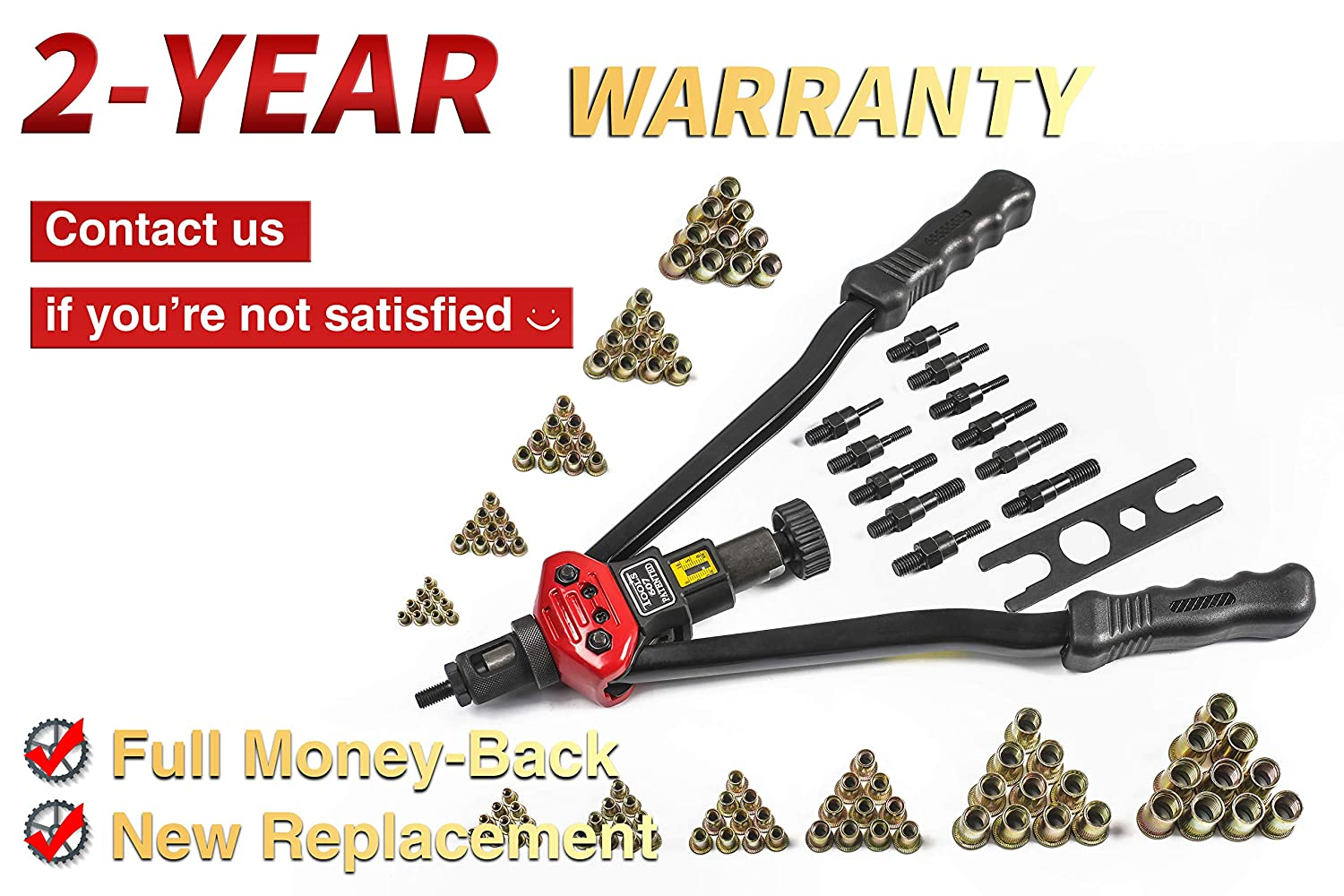 RZX 17 Rivet NUT Tool Hand Blind Riveter,RIVNUT Riveting Tools with Nut Setting System M3 M4 M5,m6,m8,m10 M12 1//4-20 5//16-18,3//8-16,Totally 11 mandrels+110PCS Rivets Nuts 10-24 17 Rivet Gun