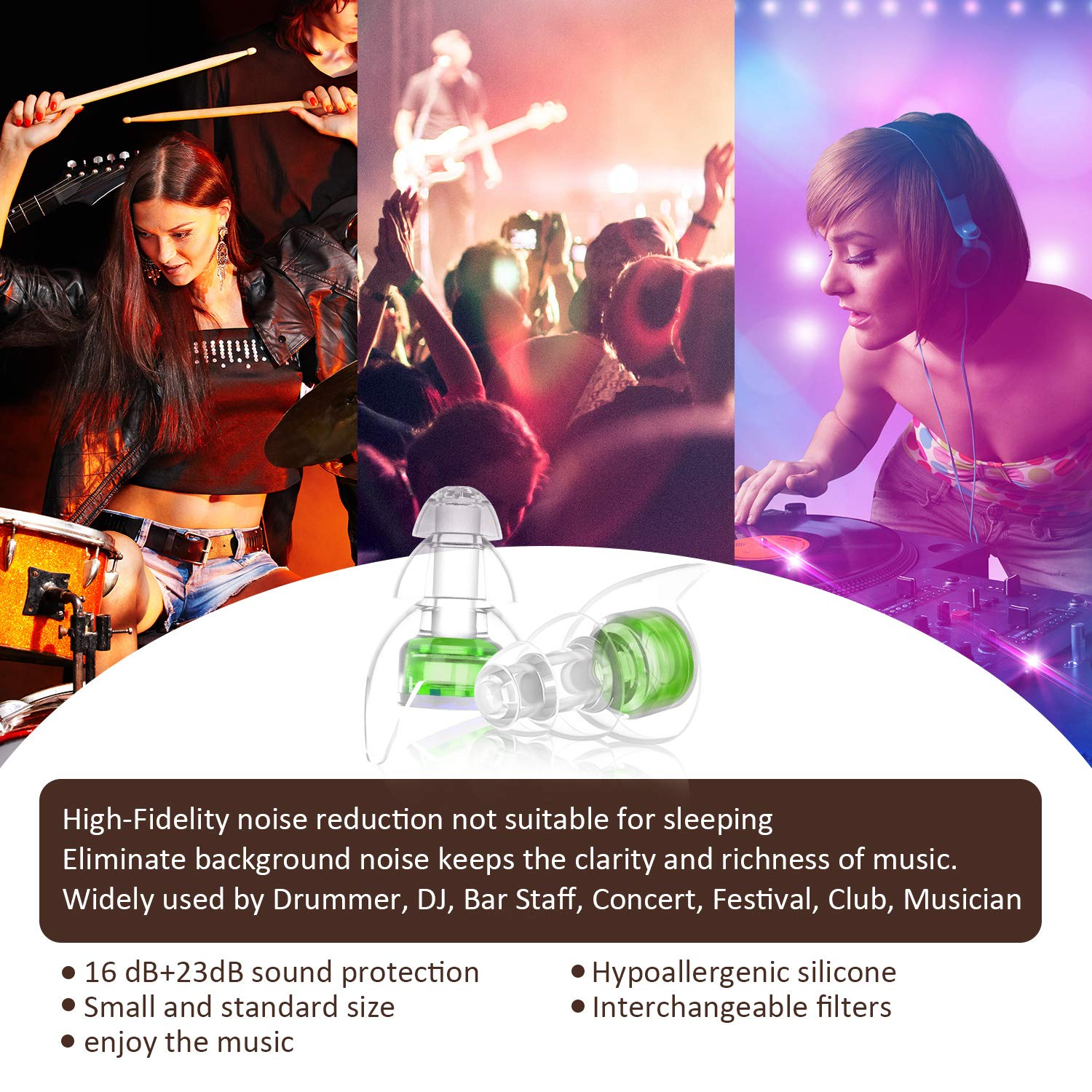 Ear Plugs for Concerts,High Fidelity Ear Plugs by Softvox Reusable Noise Cancelling Ear Plugs for Musicians, Drummers, Motorcycle, Travel with Swimming Ear Plugs(2 Pair of Filters) by softvox (Image #5)