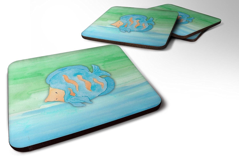 Caroline 's Treasures bb7419fc 4ブルー魚水彩フォームコースターのセットSet of 4、3 1 / 2 x 3 1 / 2、マルチカラー   B072BWZK12