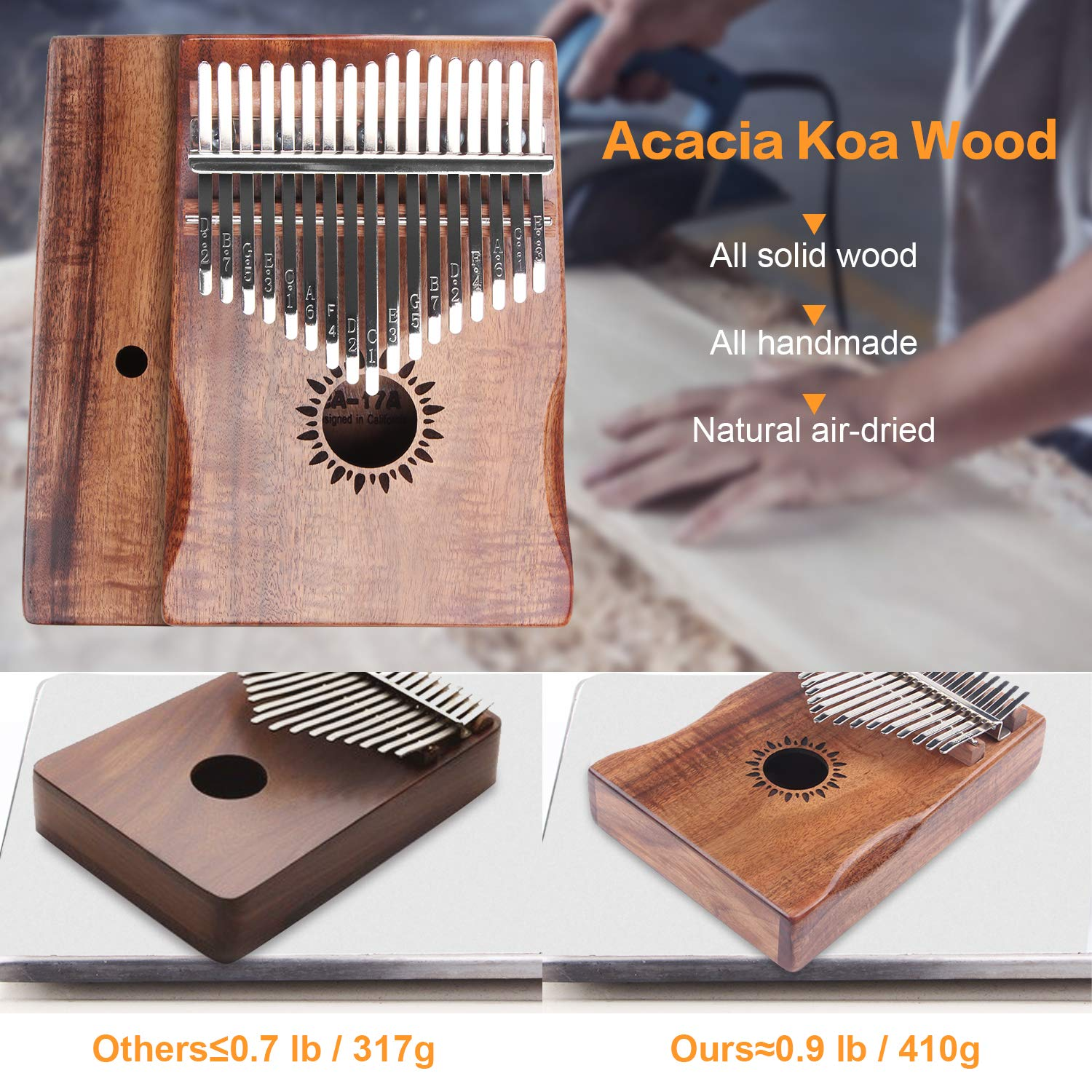 Kalimba Thumb Piano 17 Key, Portable Mbira Wood Finger Piano with 2 Bag and Sheet Music, Gifts for Kids Adult Beginners Professionals by HONHAND (Image #2)