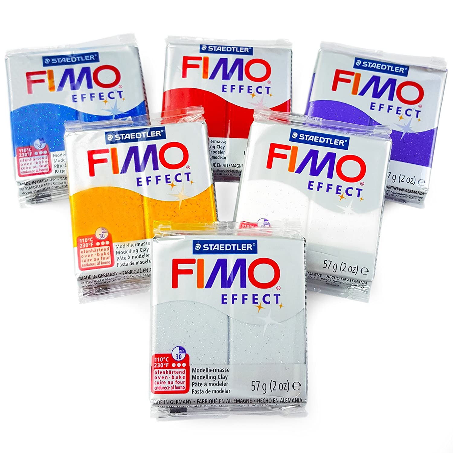 FIMO Effect Polymer Oven Modelling Clay 57g Set of 6 Glitter Finish
