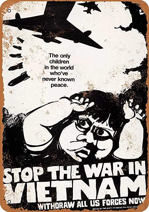 RABEAN Stop The War in Vietnam Cartel de Chapa Póster de Pared ...